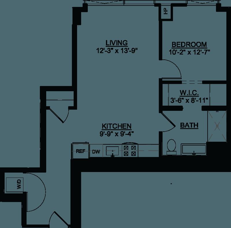 One Bedroom C floor plan