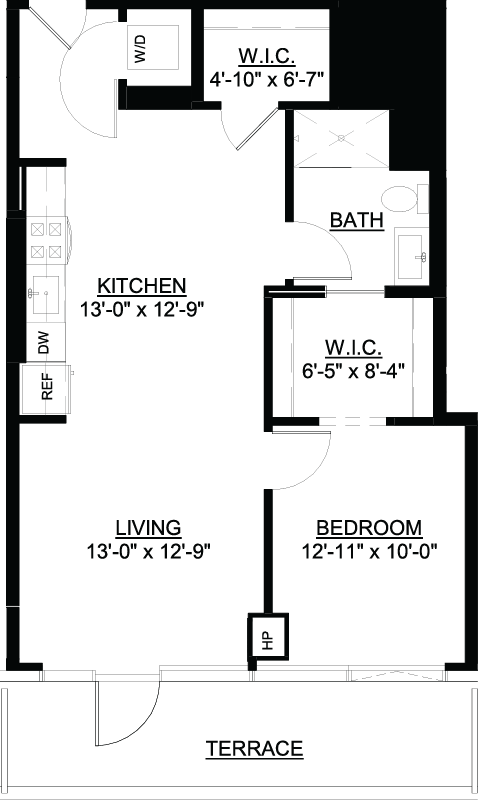 One Bedroom Terrace D floor plan