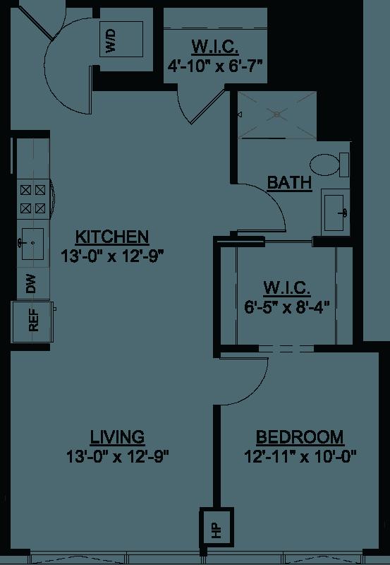 One Bedroom E floor plan