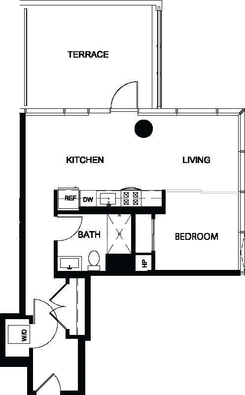 One Bedroom Terrace F floor plan