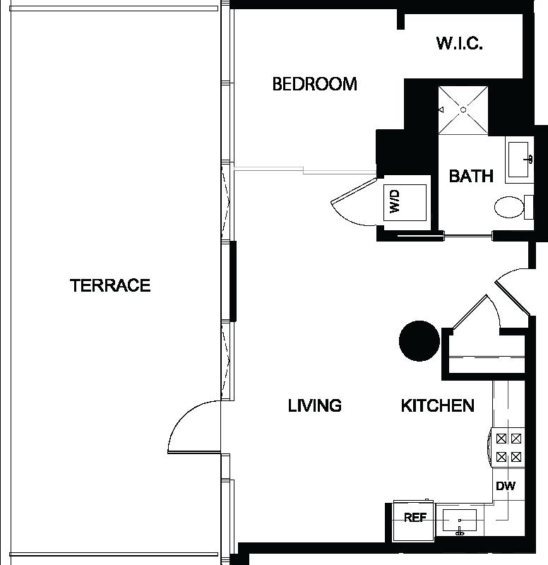 One Bedroom Terrace H floor plan