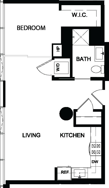 One Bedroom N floor plan