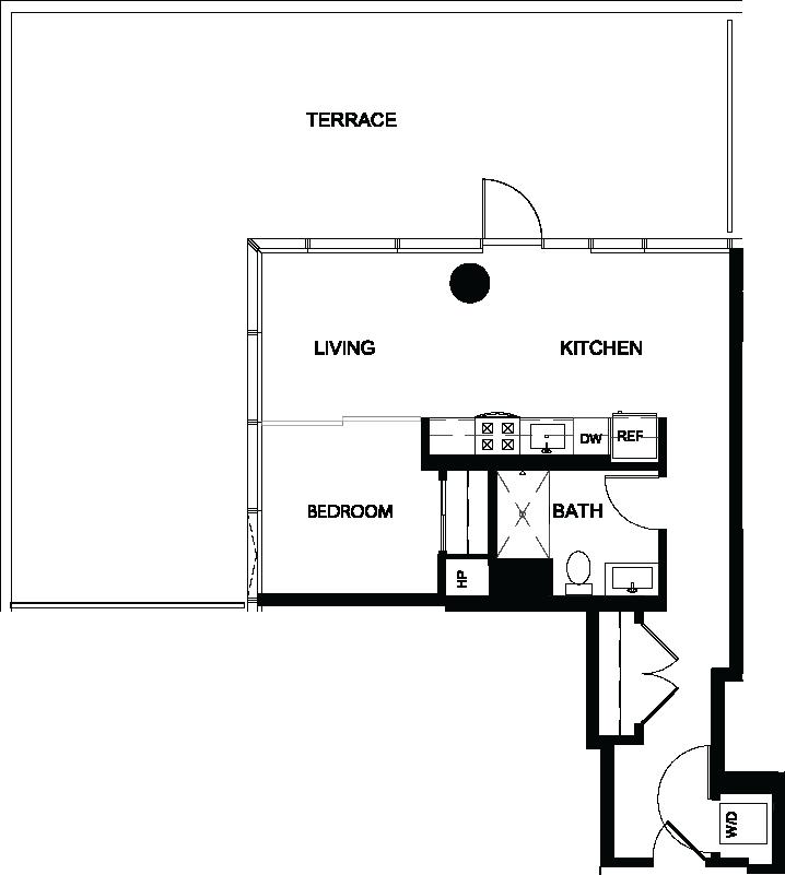 One Bedroom Terrace Y floor plan