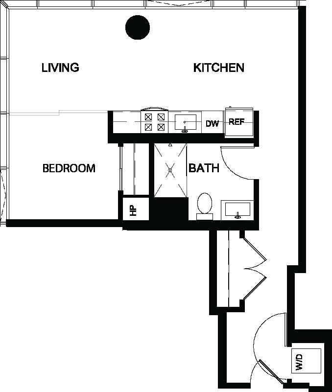 One Bedroom Y floor plan