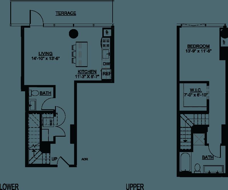 One Bedroom A Duplex Terrace floor plans