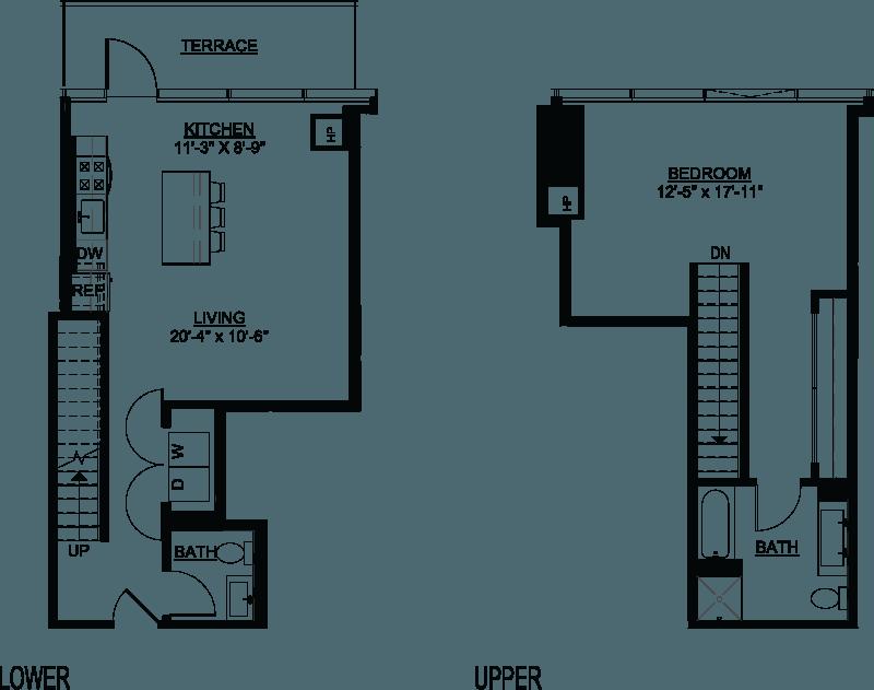 One Bedroom B Duplex Terrace floor plan