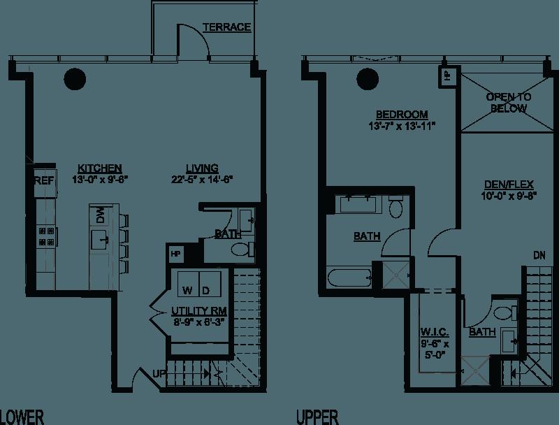 One Bedroom Den C Duplex floor plans