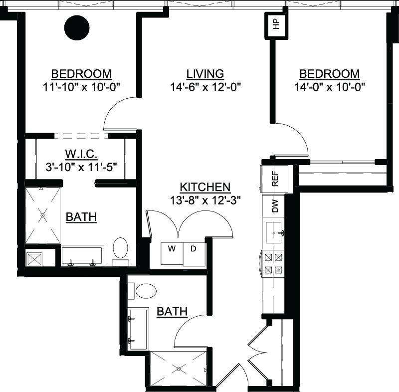 Two Bedroom A floor plan
