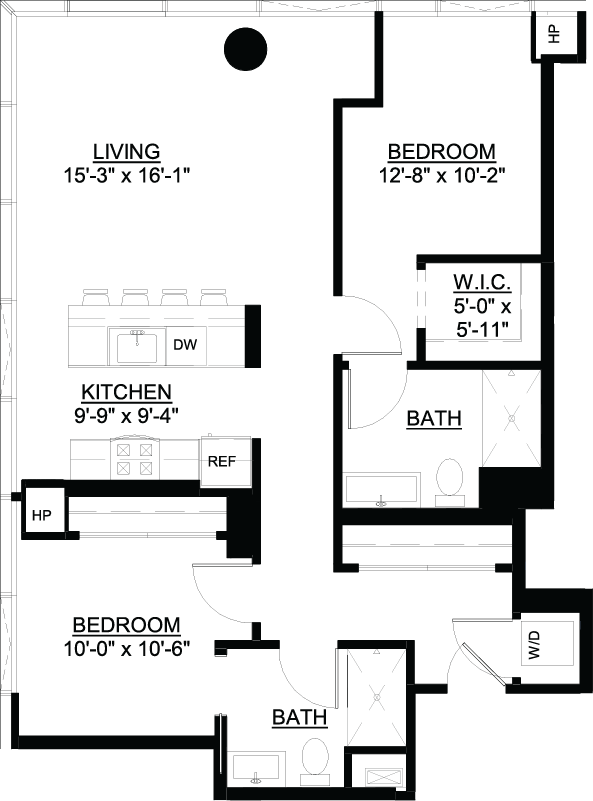 Two Bedroom D floor plan