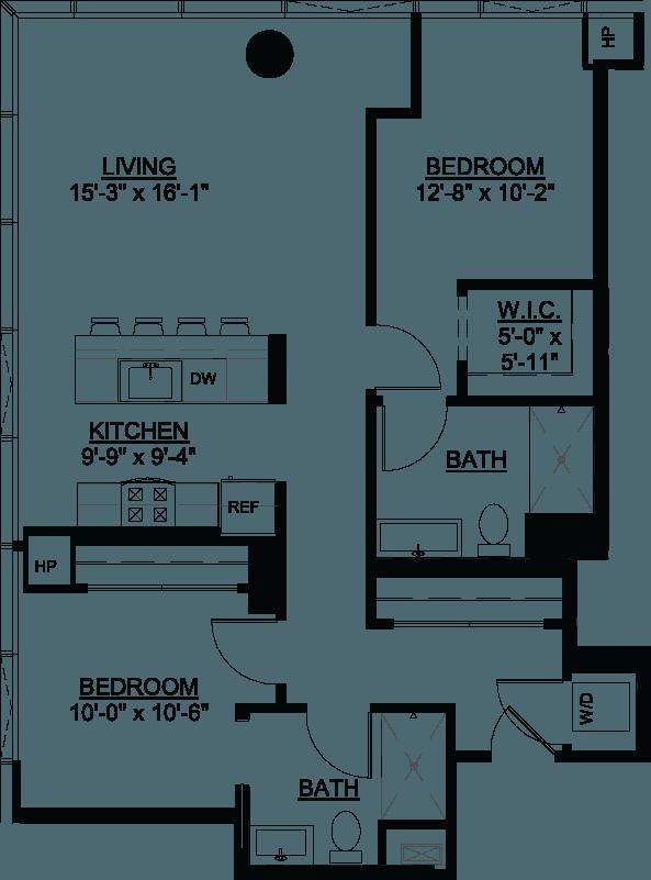 Two Bedroom D floor plan