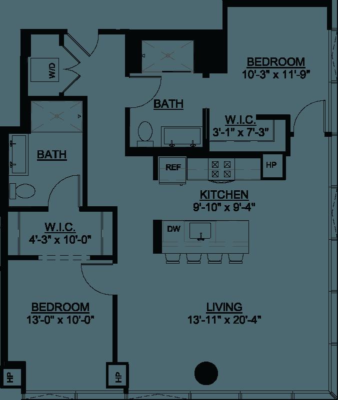 Two Bedroom E floor plan