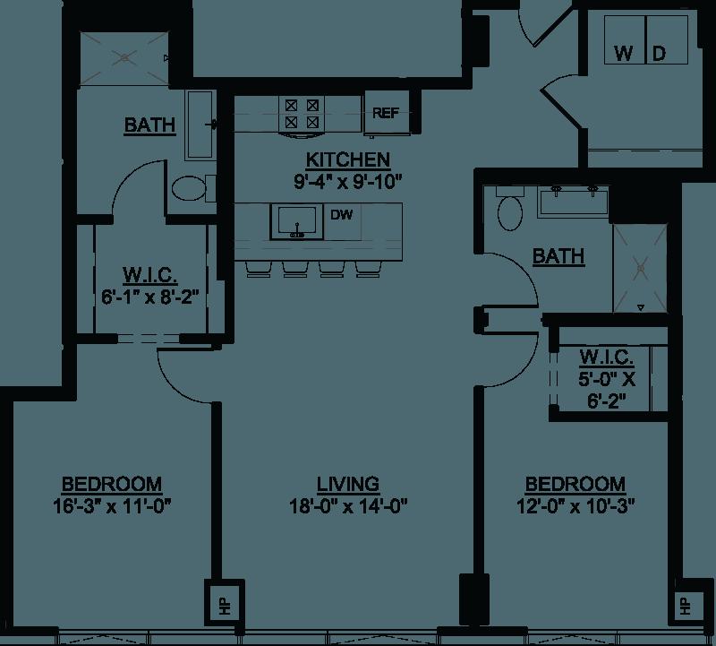 Two Bedroom G floor plan