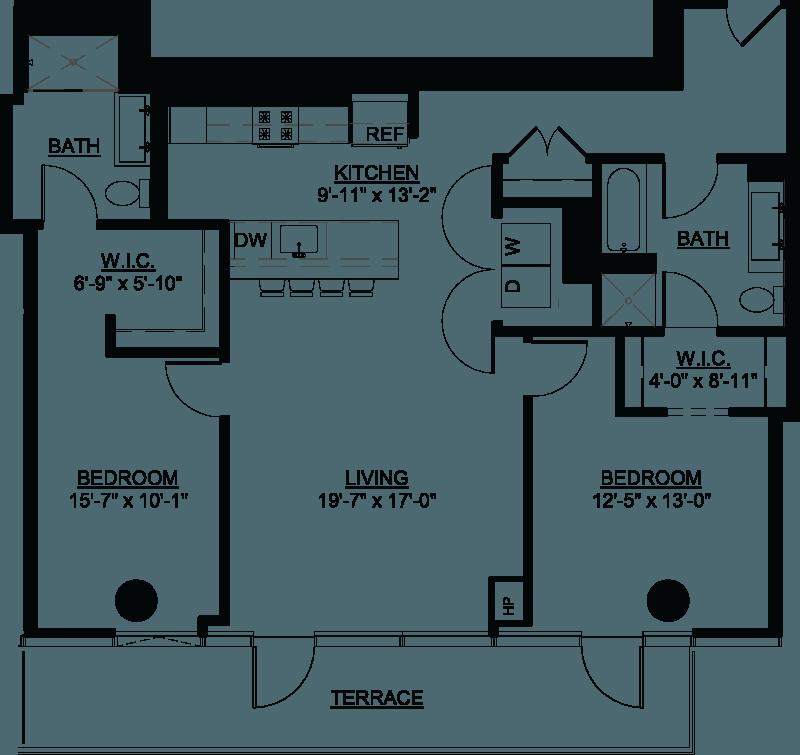 Two Bedroom PH H Terrace floor plan