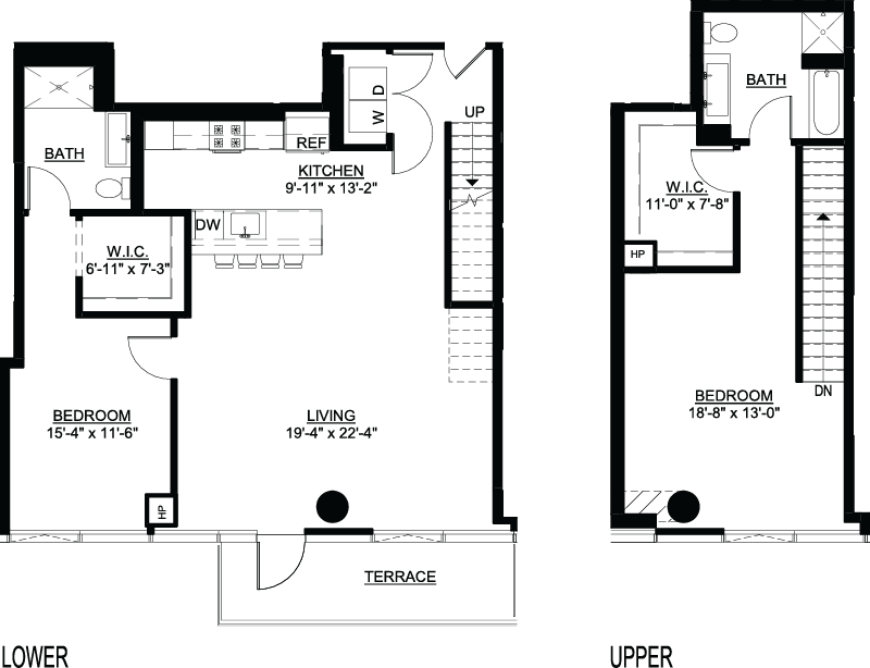 Two Bedroom I Duplex Terrace floor plans