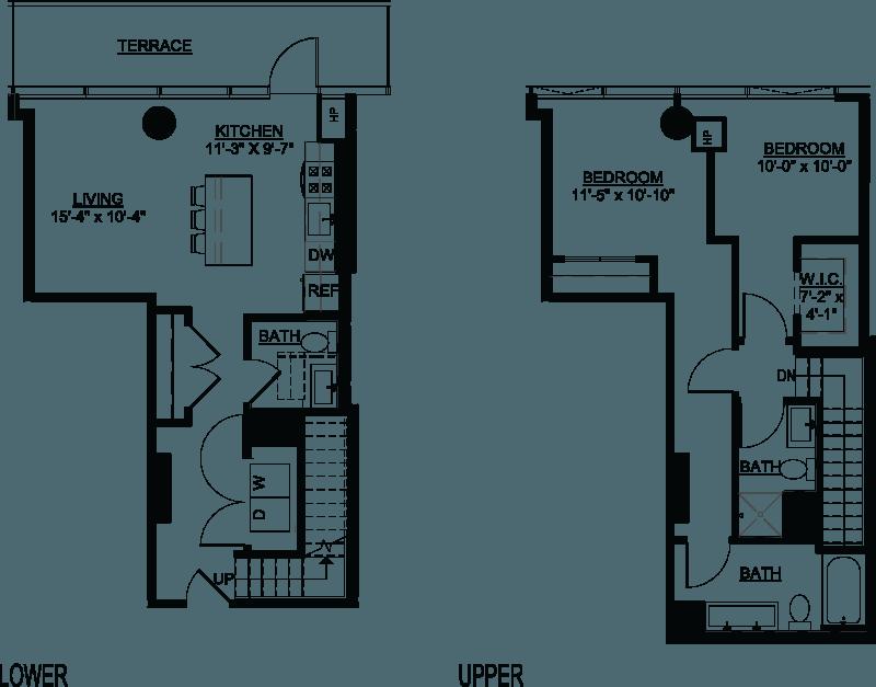 Two Bedroom A Duplex Terrace floor plans