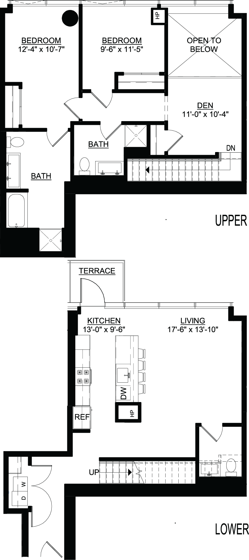 Two Bedroom Den B Duplex Terrace floor plans