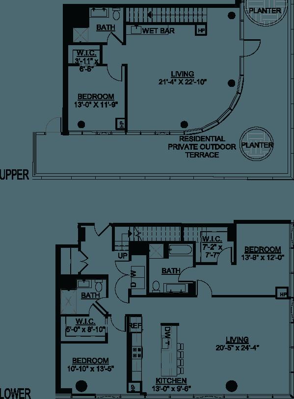Three Bedroom PH A Terrace floor plans