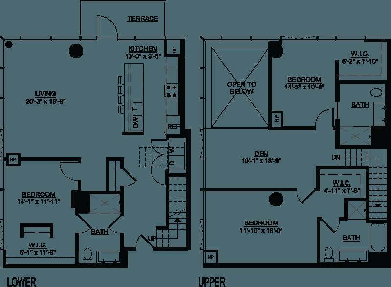 Three Bedroom Den D Duplex Terrace floor plans