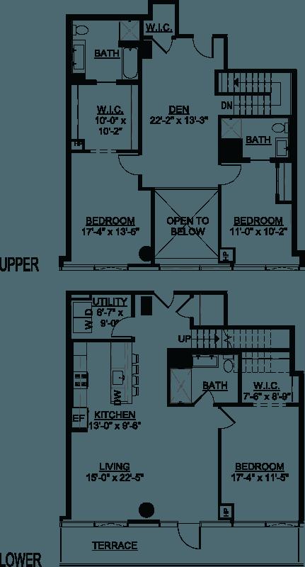 Three Bedroom Den F Duplex Terrace floor plans