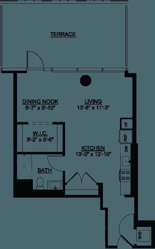 Studio Deluxe Terrace PB floor plan