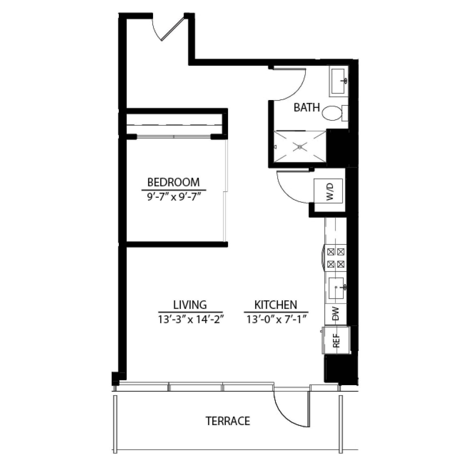One Bedroom Terrace X floor plan