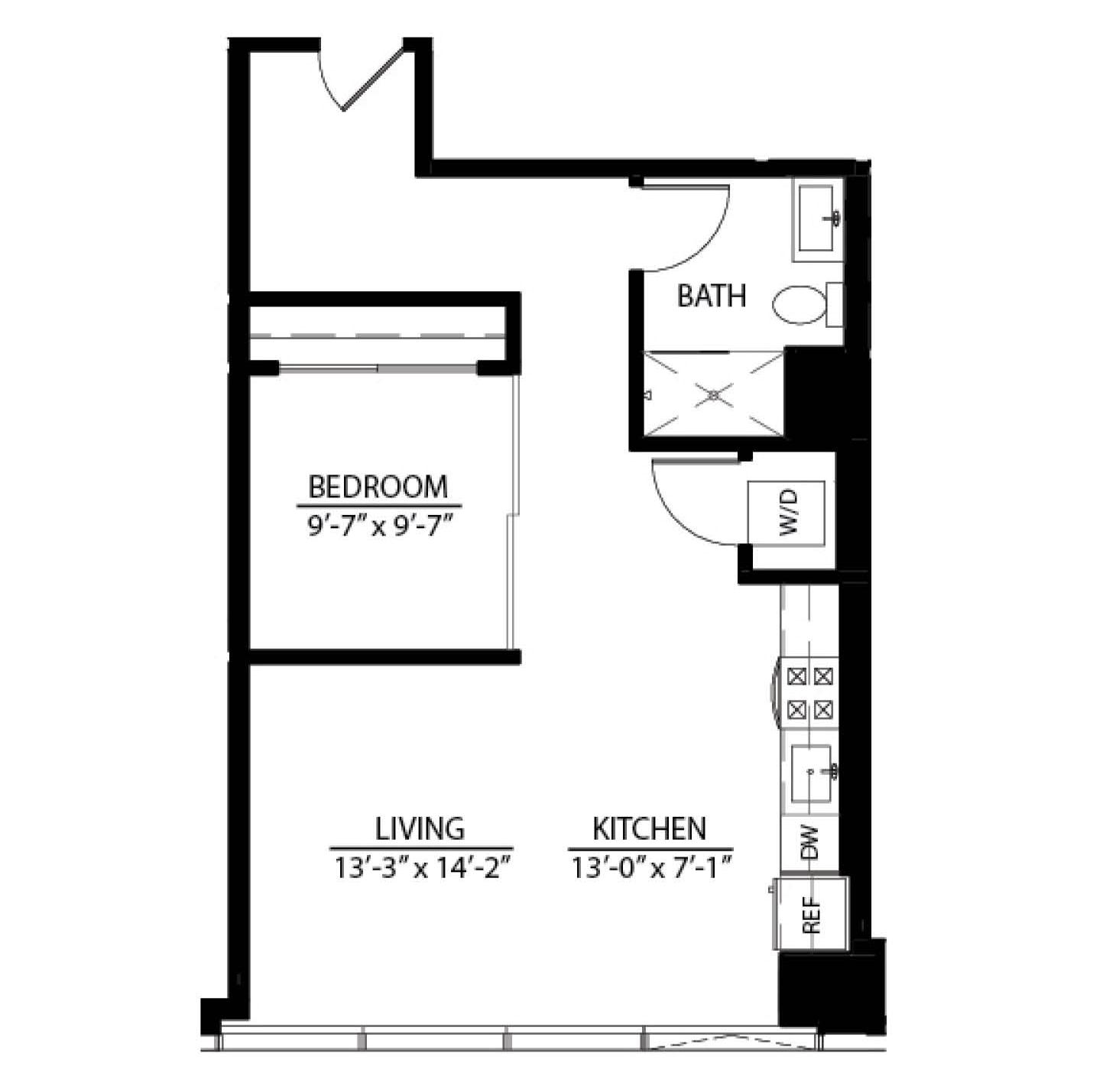 One Bedroom XB floor plan