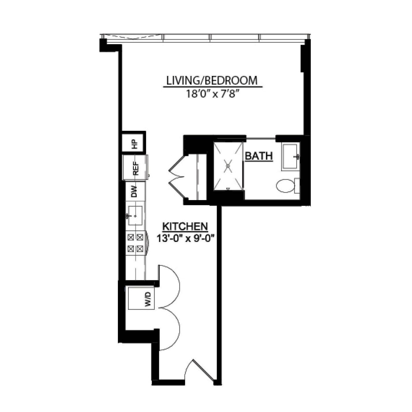Studio A floor plan