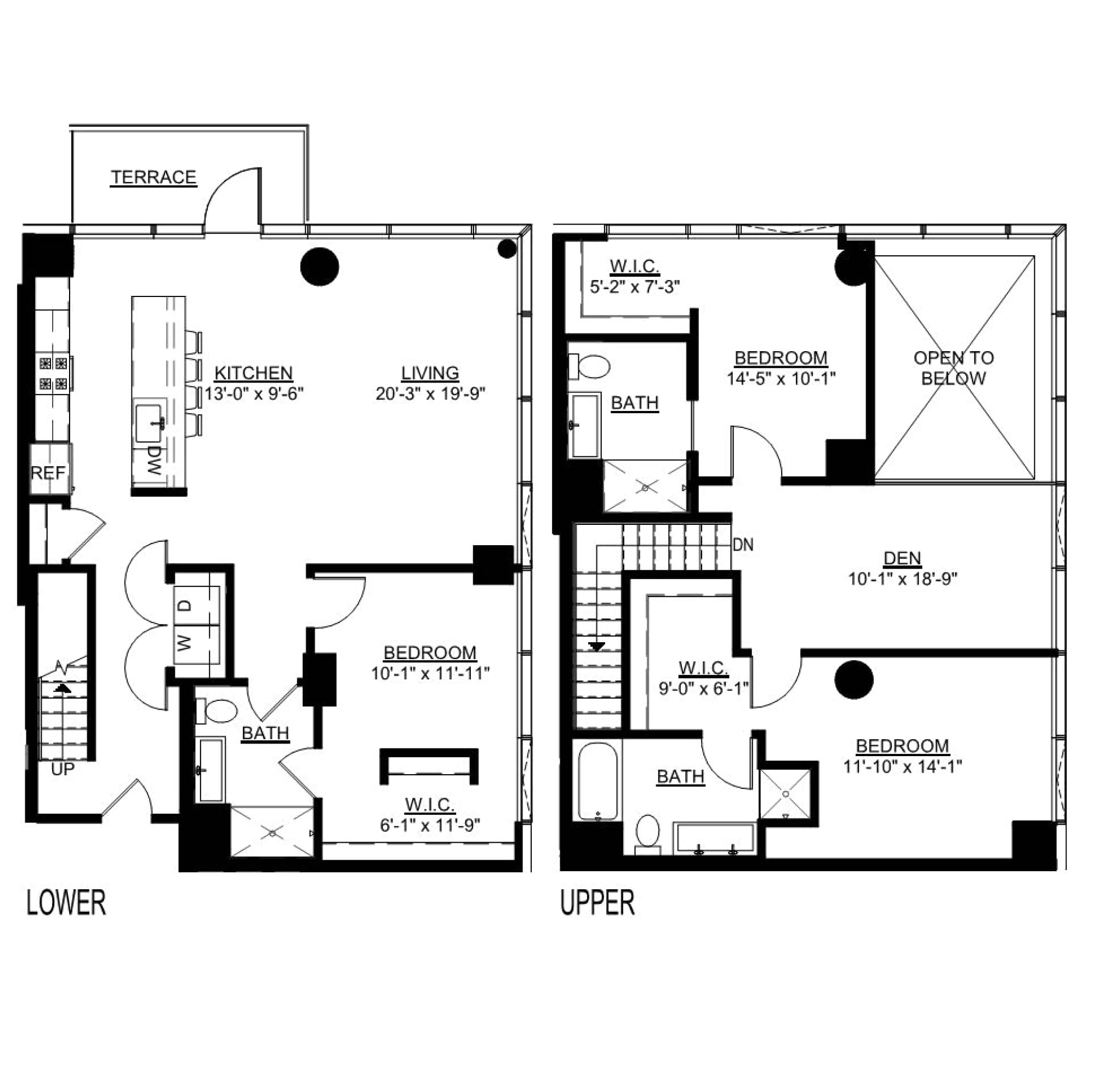 Three Bedroom Den C Duplex Terrace floor plans