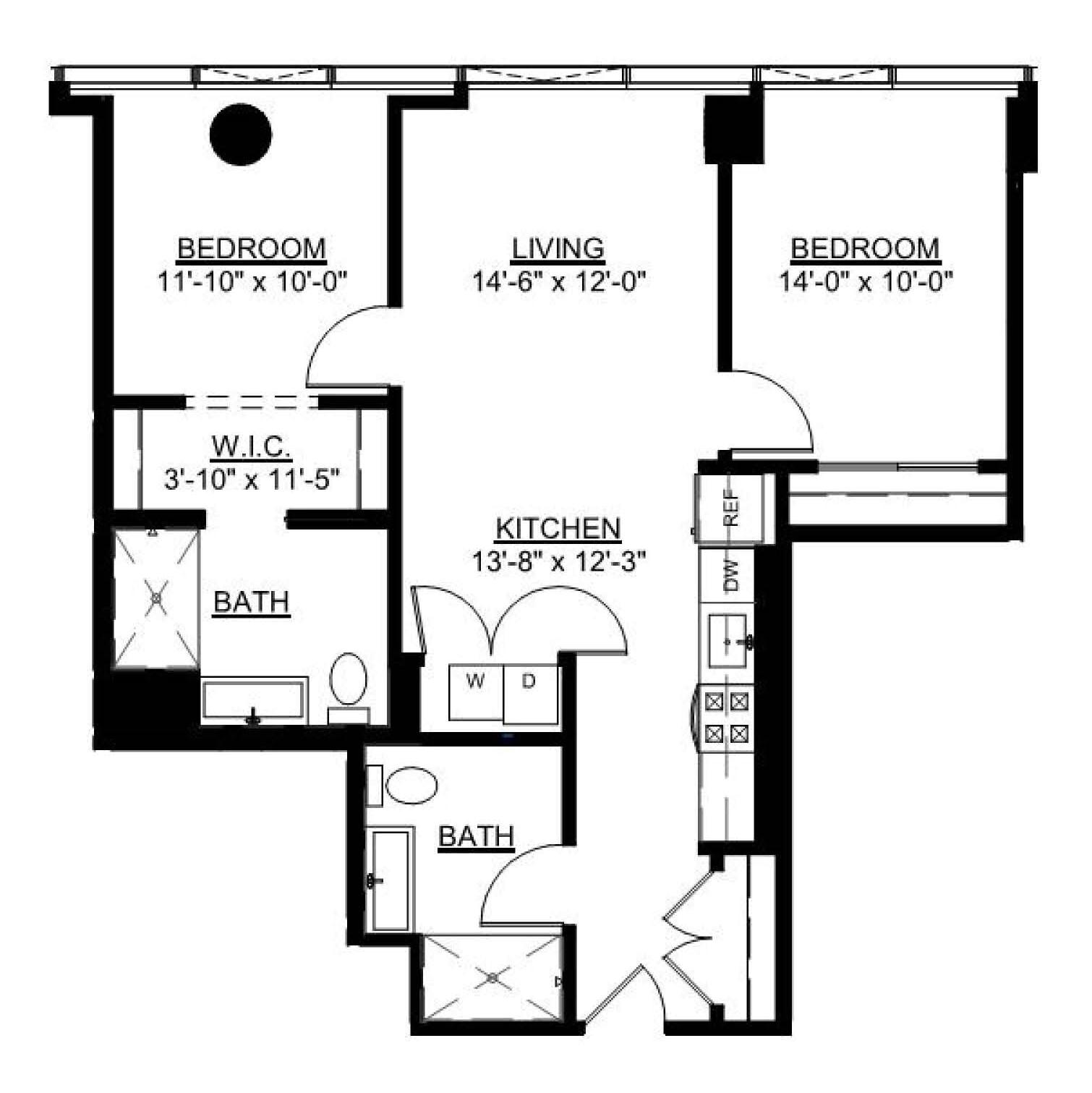 Two Bedroom B floor plan